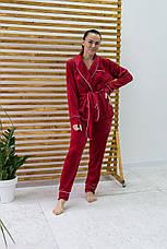 Женский домашний костюм плюшевый красный Шаль. Домашний женский халат + штаны. Жіночий домашній костюм, фото 2