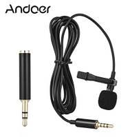 Качественный микрофон петличный петличка Andoer EY-510A для смартфона, камеры, компьютера + переходник