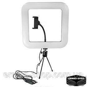 Кільцева квадратна LED лампа на тринозі | 30 см