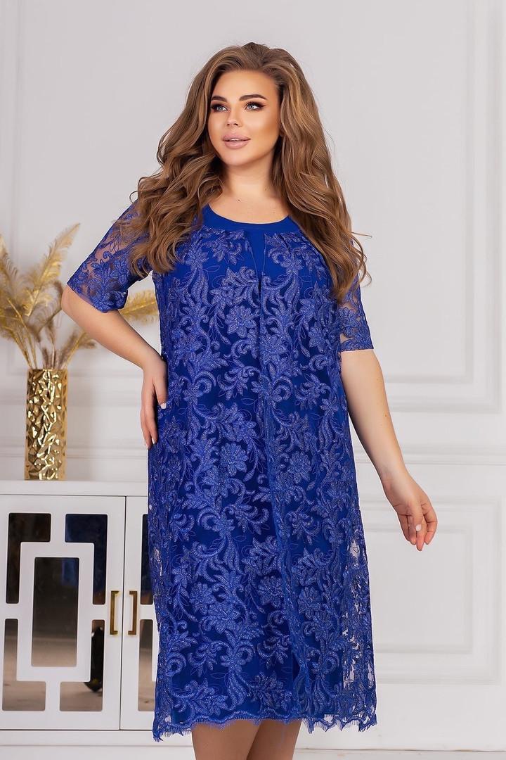 Платье с гипюровой накидкой  (Батал)