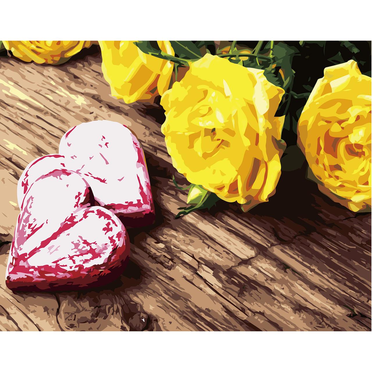 """Набір для розпису по номерах VA-2672 """"Жовті троянди"""", розміром 40х50 см"""
