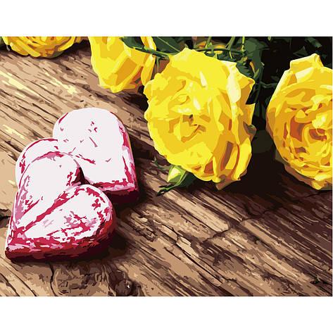 """Набір для розпису по номерах VA-2672 """"Жовті троянди"""", розміром 40х50 см, фото 2"""