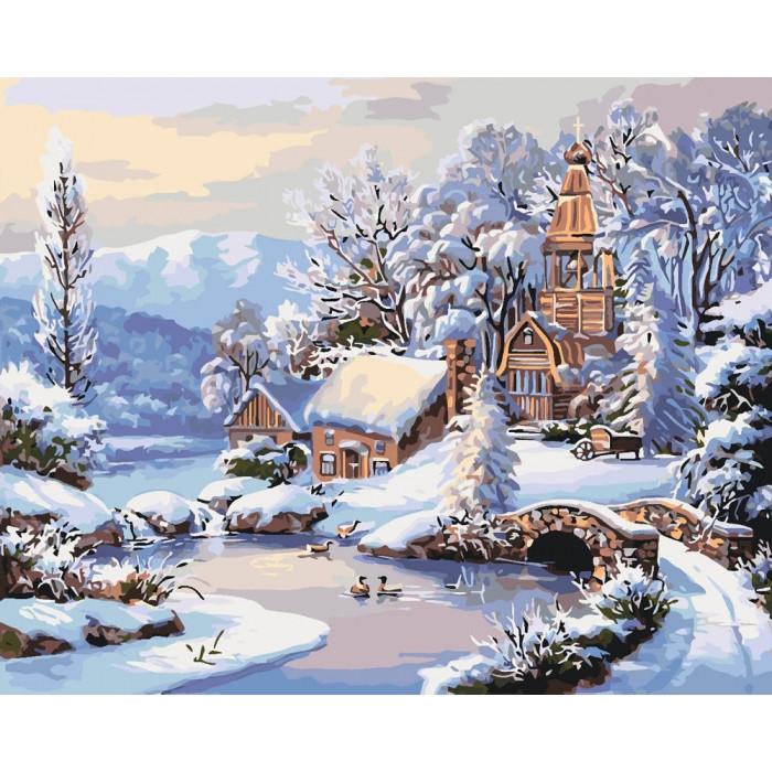 """Набір для розпису по номерах. Сільський пейзаж """"Зимовий ранок"""" 40*50см"""
