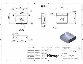 Раковина из литьевого мрамора подвесная 43*39*13 см Miraggio Seed матовый, фото 2