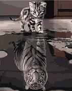 """Набір для розпису по номерах VA-0500 """"Кіт та тигр"""", розміром 40х50 см"""