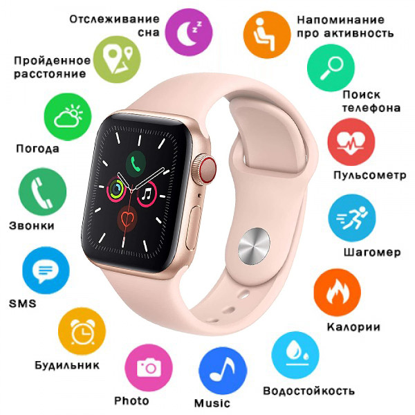 Умные смарт часы Smart Watch Lige W4 с пульсометром -шагомером для Android и iOS Фитнес трекер браслет Розовый