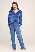 Бордова жіноча піжама велюрова, фото 2