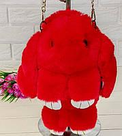 Хутряна сумка-рюкзак червоний Зайчик (кролик)