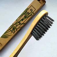 Бамбуковая зубная щетка Hand Made с угольным напылением, средней жесткости