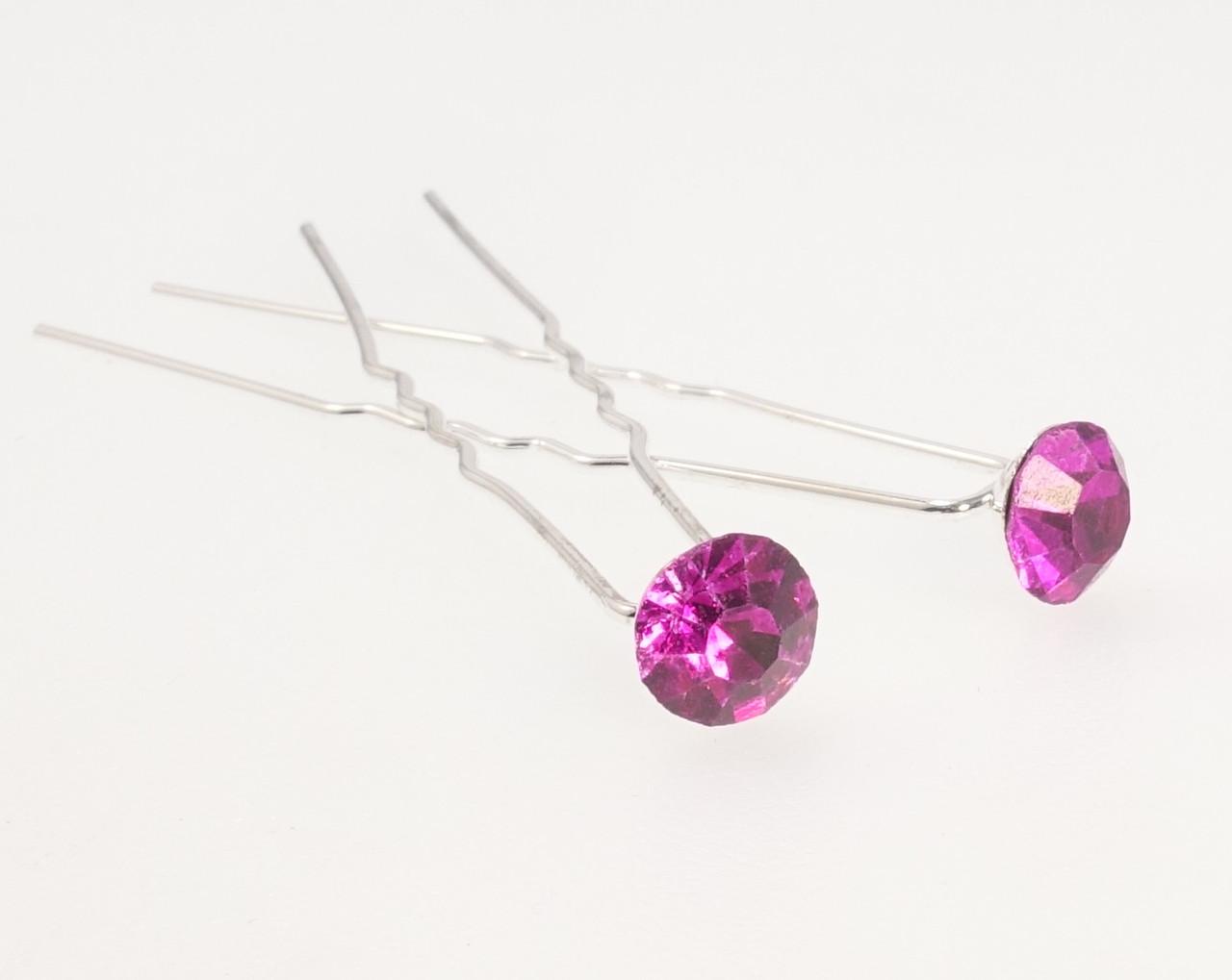 """Шпилька для волос """"Малиновый кристалл на шпильке"""" ø 8мм (цена за одну штуку)"""