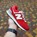 Жіночі кросівки New Balance 574 (червоні) 20252 замшеві туфлі спортивні кроси, фото 2