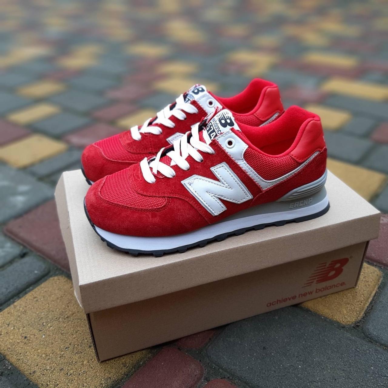 Жіночі кросівки New Balance 574 (червоні) 20252 замшеві туфлі спортивні кроси