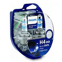 Лампа галогенна Philips H4 RacingVision GT200 +200% 60/55W P43T 12V 12342RGTS2, Лампа, галогенна, Philips, H4, RacingVision,
