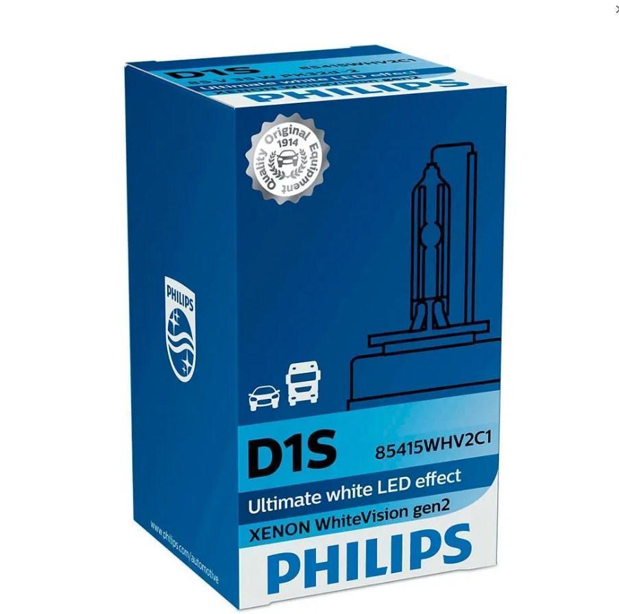 Лампа ксеноновая Philips D1S 85415WHV2C1 D1S 85V 35W PK32d-2 Whi