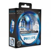 Лампа галогенна Philips H4 ColorVision Blue, 3350K, 2шт/блістер 12342CVPBS2