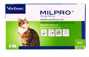 Virbac Milpro (Милпро) Антигельмінтні таблетки для кішок (більше 2 кг) 4 таблетки