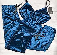 Шикарный велюровый комплект тройка майка+шорты+штаны.
