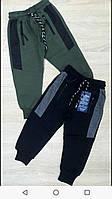 Спортивные штаны для мальчика на 5-8 лет хаки, черного цвета оптом