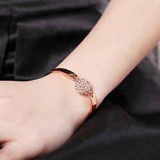 "Жіночий браслет жорсткий з кулькою позолота 18К ""Стильна класика"", фото 2"