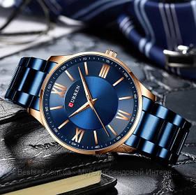 Оригинальные мужские часы стальной ремешок  Curren 8383 Blue-Gold