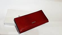 Кожаный кошелек красный на магните женский лаковый Mario Dion 801А, фото 3