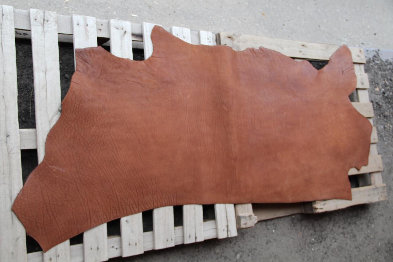 Натуральная кожа КРС, краст ременной гладкий толщина 3,8-4,0 мм (цвет кирпичный)