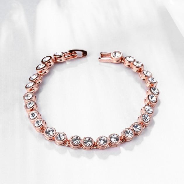"""Стильный женский браслет """"Сафарис"""" позолота розовое золото 18К чешские кристаллы"""