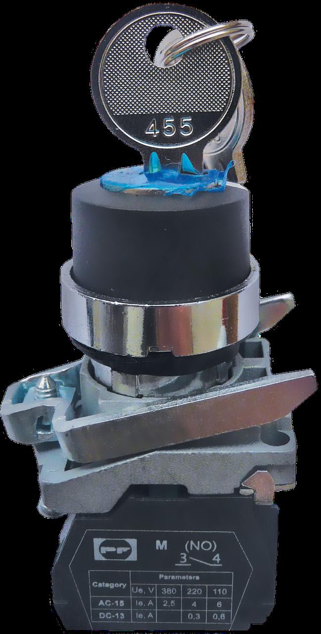 Выключатель кнопочный FP CKL 3 (ключ-бирка с-х позиционная, с фиксацией, ключ в вкл. Вынимается, в позициях I,