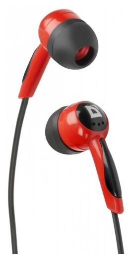 Вакумные Наушники Гарнитура Defender Basic-604 Black/Red (63605)