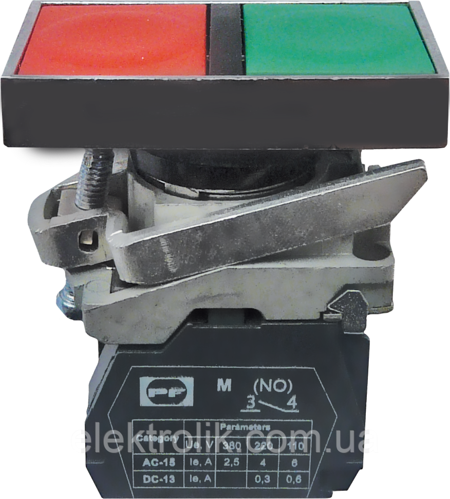 Выключатель кнопочный FP Prec Start-Stop (кнопки зеленый + красный, без фиксации, втайне) 1NO + 1NC