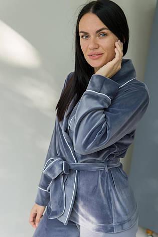 Жіночий домашній костюм плюшевий сірий + блакитний Шаль. Домашній жіночий халат + штани. Жіночий домашній костюм, фото 2