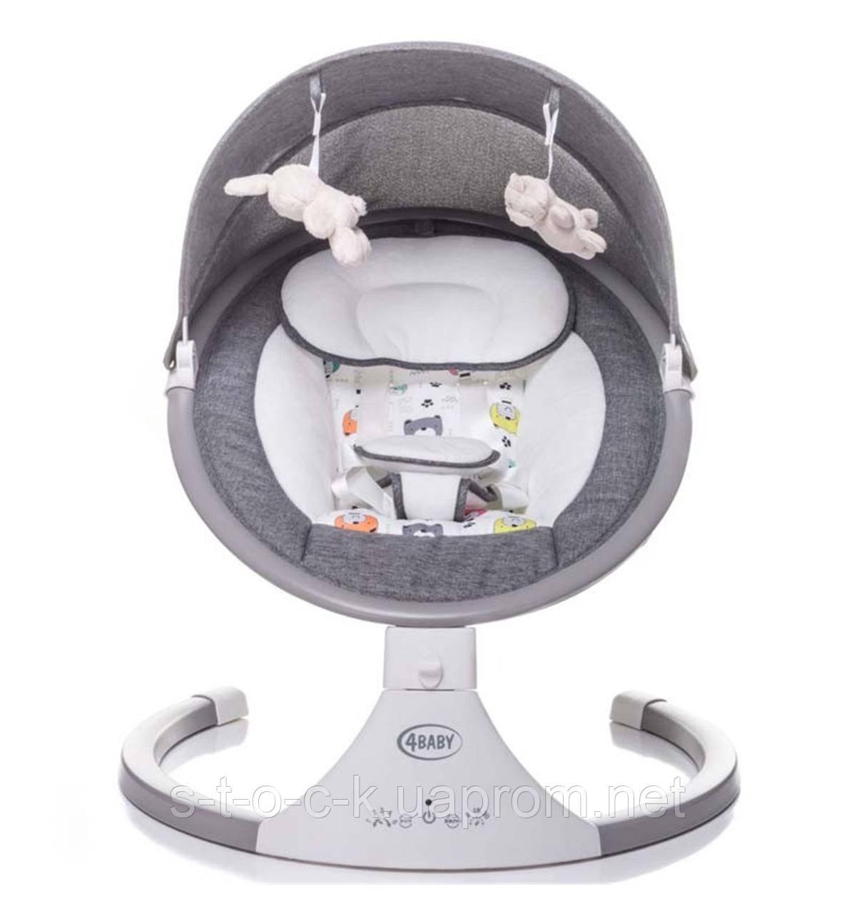 Гойдалка-дитяча ROCK'N RELAX від 4Baby!  Колір: сірий (grey).Для дітей від народження до 9 кг.