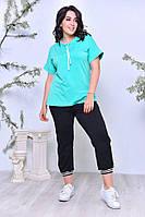 Спортивный костюм женский (футболка + капри) до 64 размера