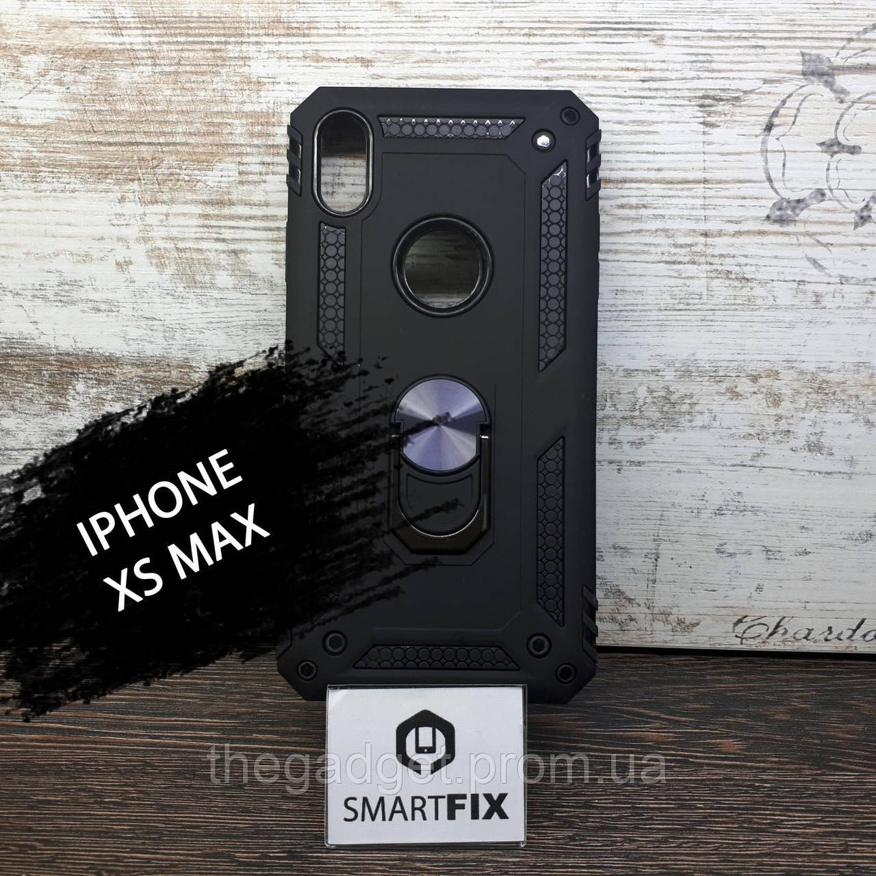 Противоударный чехол для iPhone XS MAX Serge Ring Черный