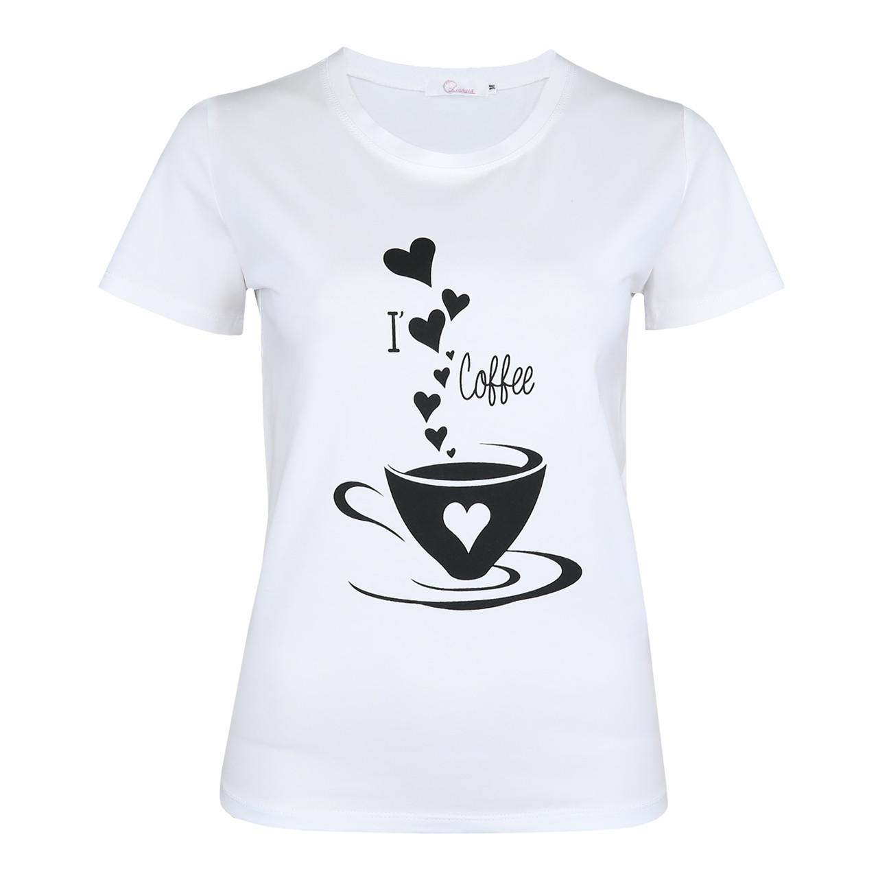 Футболка женская Lianara хлопок с принтом Coffee р. M, L, XL