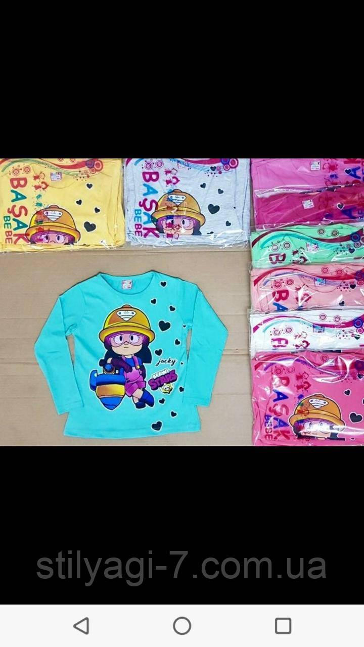 Батник для девочки 5-8 лет малина, молочного, персик, розового, молоко, мята цвета бравл старс оптом
