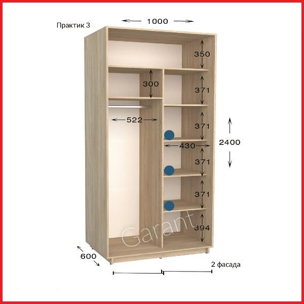 Шкаф купе ПРАКТИК 3 / ширина-1000/ глубина-450/600/ высота-2200/2400 (Гарант)