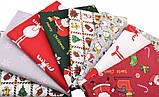 Новорічний набір відрізів тканини для рукоділля з різними орнаментами - 9 відрізів 40*50 см, фото 2