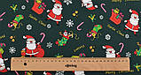 Новорічний набір відрізів тканини для рукоділля з різними орнаментами - 9 відрізів 40*50 см, фото 7