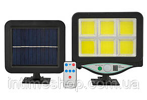 Уличный светильник с датчиком движения BK-128 6COB, фонарь на солнечной батарее (солнечных батареях) (TI)