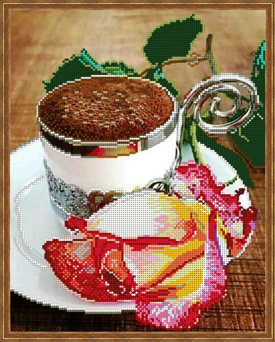 Вышивка бисером, Канва цветы розы Кофейная роза
