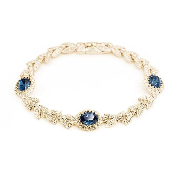 """Красивий жіночий браслет з синіми каменями Сваровскі позолота """"Святковий настрій"""""""