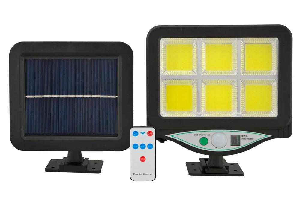 Вуличний світильник з датчиком руху BK-128 6COB, ліхтар на сонячній батареї | уличный фонарь