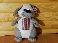 Іграшка лляна ручної роботи Пес Сірко великий