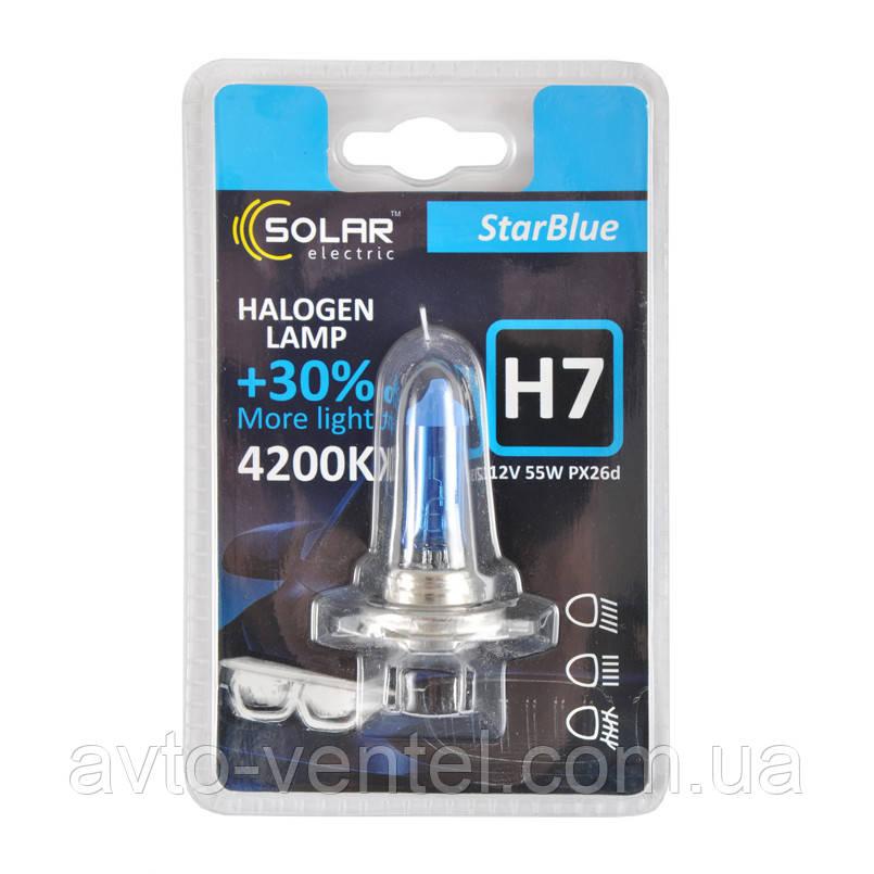 Галогенная лампа Solar H7 12V 55W PX26d StarBlue 4200K (1247B1)