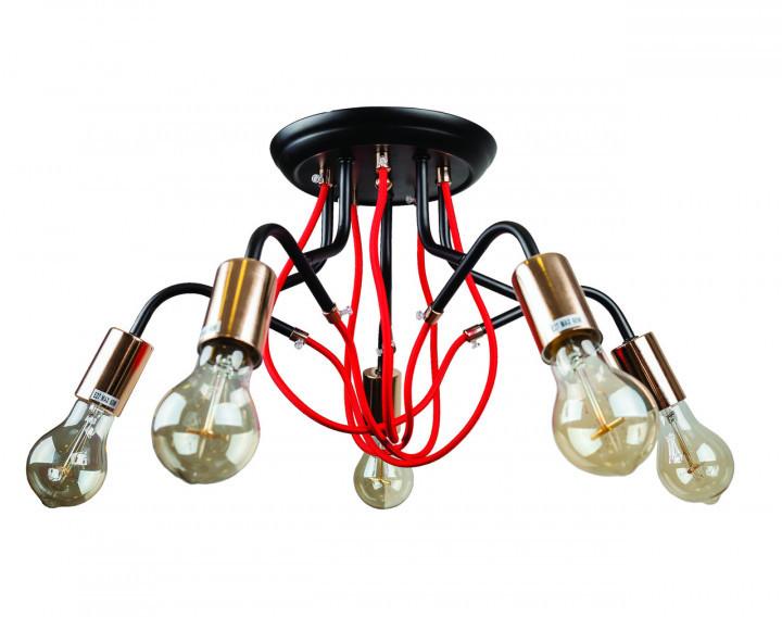 Люстра подвесная на 5 плафонов на черном основании в стиле loft 768V8075-5 BK-GD