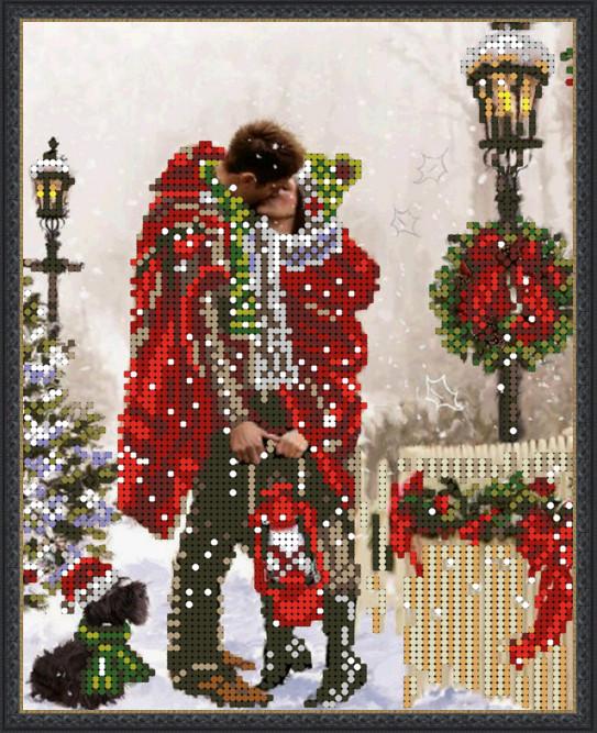Вышивка схема бисером, Канва гуси Пейзажи Рождественский поцелуй
