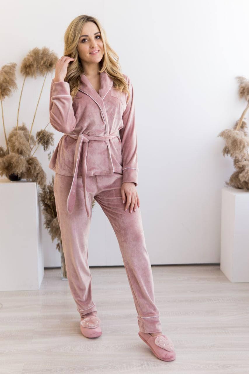 Жіночий домашній костюм плюшевий пудровий Шаль. Домашній жіночий халат + штани. Жіночий домашній костюм