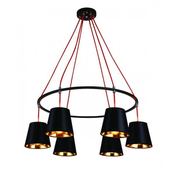 Люстра подвесная на 6 плафонов на черном основании в стиле loft 768V32041-6 BK-GD