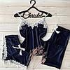 Піжама комплект трійка (штани+Футболка+шорти) з оксамиту з мереживом, фото 2